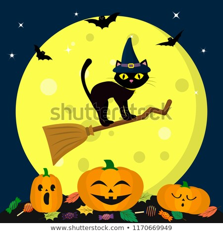 a halloween template with a witch stock photo © colematt