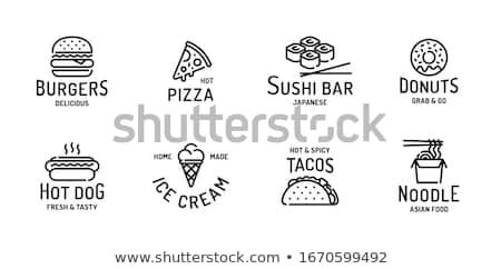 Eetstokjes pizza pakket geserveerd posters Stockfoto © robuart