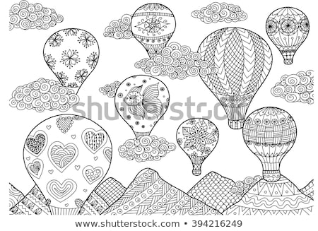 colorful book with balloon in the sky stock photo © colematt