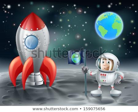 Zöld idegen űrhajós űr piros zászló Stock fotó © colematt