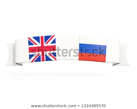 Banner with two square flags of United Kingdom and russia Stock photo © MikhailMishchenko