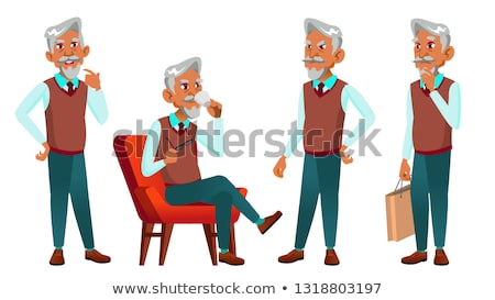 Arab, Muslim Old Man Poses Set Vector. Elderly People. Senior Person. Aged. Caucasian Retiree. Smile Stock photo © pikepicture