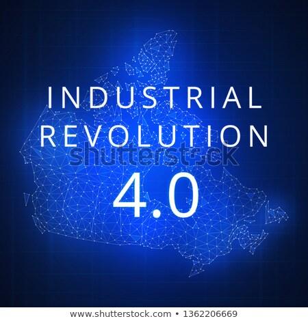 Fourth industrial revolution on blockchain polygon Canada map. Stock photo © RAStudio