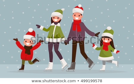 skating mother and daughter vector illustration stock photo © robuart