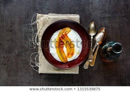 Görög joghurt grillezett banán juhar szirup Stock fotó © YuliyaGontar