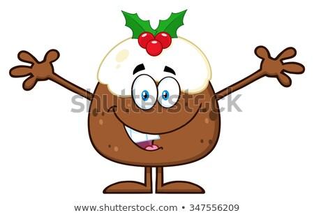 Uśmiechnięty christmas pudding otwarte broni Zdjęcia stock © hittoon