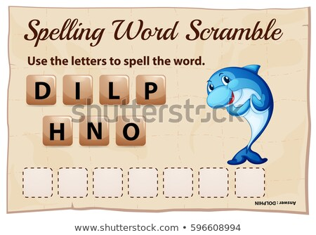 Spelling word scrable game with word dolphin Stock photo © colematt
