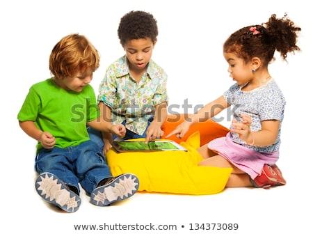 Boldog testvérek gyermek játszik pc tabletta Stock fotó © Lopolo
