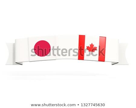 Banner twee vierkante vlaggen Japan Canada Stockfoto © MikhailMishchenko