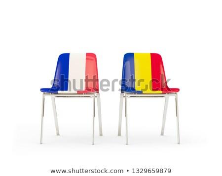 Deux chaises drapeaux France Roumanie isolé Photo stock © MikhailMishchenko