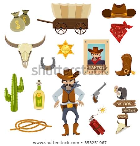 Kaktus · cowboy · twarz · pistolet · hat - zdjęcia stock © netkov1