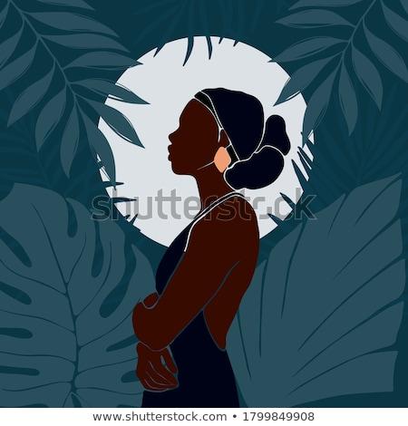 Portré gyönyörű afro amerikai nő portré nő Stock fotó © deandrobot