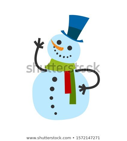 Snowman Male, in Warm Winter Scarf and High Hat Stockfoto © robuart