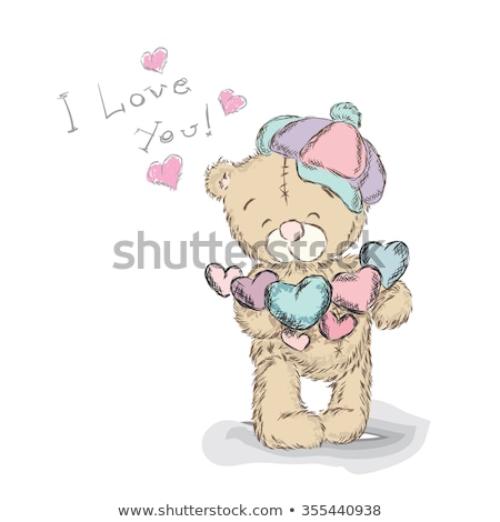 Teddy Bear with Recognition, Valentine Vector Card Foto stock © robuart
