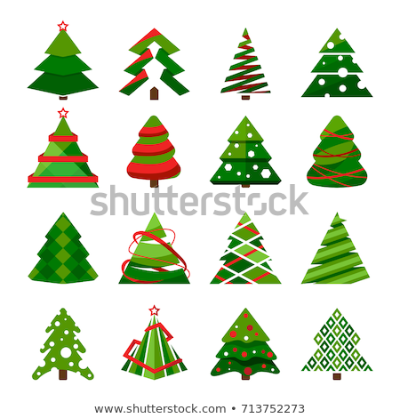 set of icons of christmas trees in different styles stock photo © heliburcka