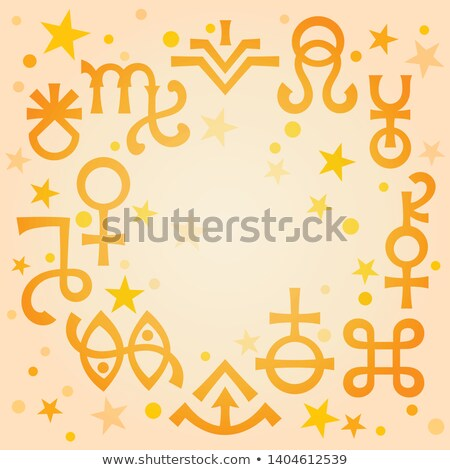 Astrological diadem (astrological signs and occult mystical symbols), warm morning celestial pattern Stock photo © Glasaigh