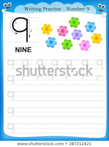 Número nueve orientar ilustración fondo arte Foto stock © colematt