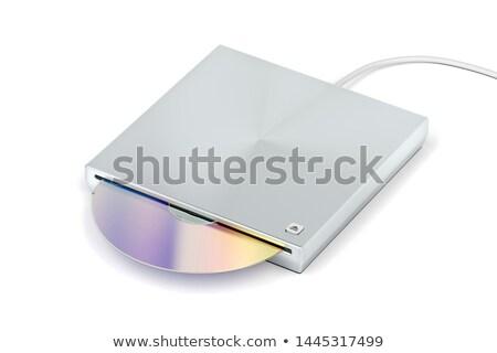 Optische schijf drive zilver hout computer Stockfoto © magraphics