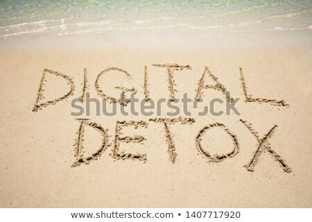 Digitális detoxikáló szó homok tenger írott Stock fotó © AndreyPopov