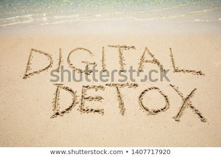 Digital Detox Word On Sand Near The Sea Stock photo © AndreyPopov