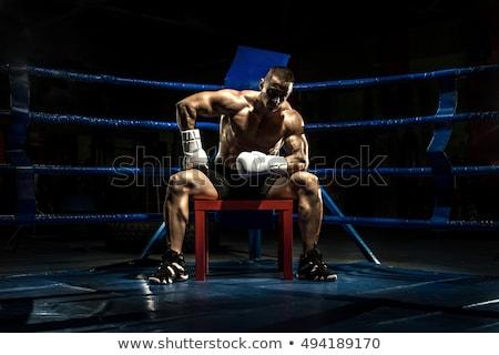 Stock fotó: Törik · box · gyűrű · fáradt · szőke · nő · sportoló