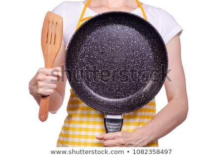 Girl Hand Holding Cooking Pan In Kitchen Stock photo © AndreyPopov