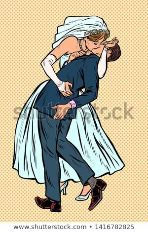 Beijo noiva noivo cerimônia de casamento feminista mulher Foto stock © studiostoks