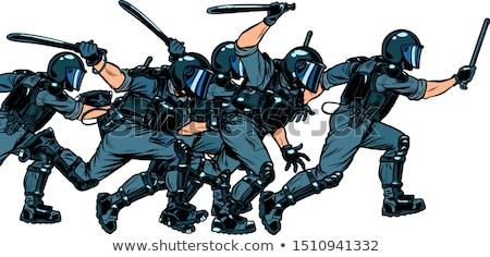 Homme émeute police pop art rétro dessin Photo stock © studiostoks