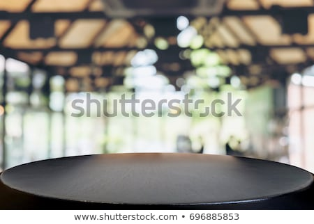 Stockfoto: Selected Focus Empty Black Wooden Table And Coffee Shop Cafe Or