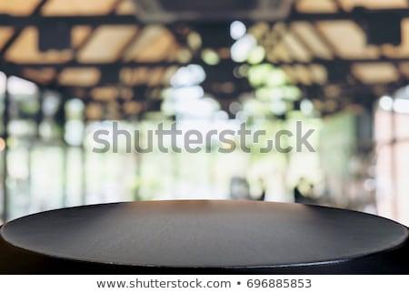 Gekozen focus lege zwarte houten tafel coffeeshop Stockfoto © Freedomz