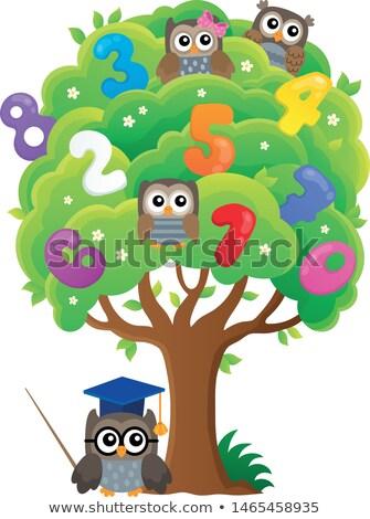 Baum · stilisierten · Schule · Eule · Kunst · Bildung - stock foto © clairev