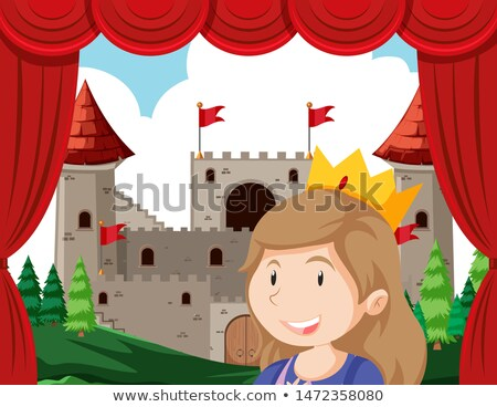 Princess in foreground of stage acting in front of castle Stock photo © bluering
