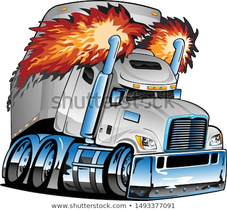 Semi Truck Tractor Trailer Big Rig, White, Flaming Exhaust, Lots of Chrome, Cartoon Isolated Vector  Stock photo © jeff_hobrath