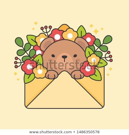 Cute bear in an envelope with flowers and leaves Stock photo © amaomam