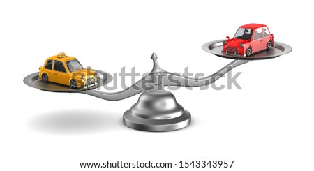 car and taxi on scales. Isolated 3D illustration Stock photo © ISerg