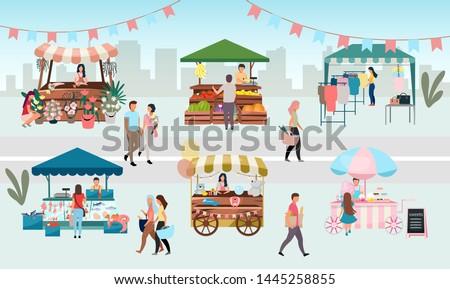 палатки продукции одежды базарная площадь вектора набор Сток-фото © robuart