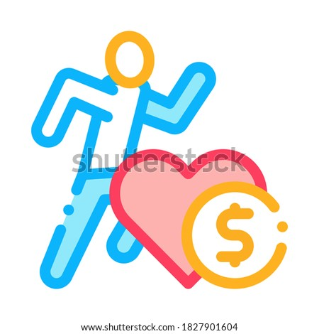 Athlete Health for Money Icon Vector Outline Illustration Stock photo © pikepicture