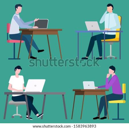 Komputerów sprzedać towary majątek posiedzenia pracy Zdjęcia stock © robuart