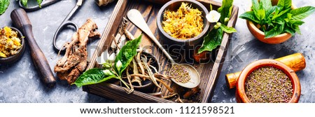 Boxes of dried medicinal herbs Stock photo © sumners