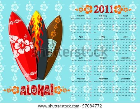 Vector Blue Aloha Calendar 2011 avec des planches de surf Photo stock © Elisanth