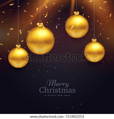 chriatmas festival celebration card design with golden balls dec Stock photo © SArts