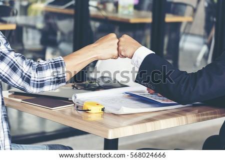 Бизнес-партнеры пару бизнеса счастливым мужчин команда Сток-фото © Minervastock