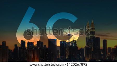 6G text on Kuala Lumpur Malaysia background. Stock photo © szefei