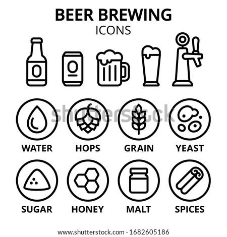 hops and wheat ingredients for making beer vector illustration Stock photo © konturvid