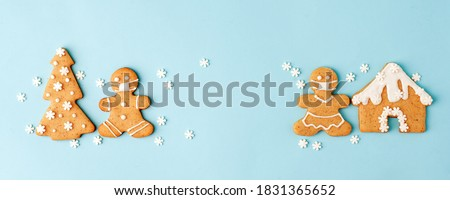 Christmas background with gingerbread cookies Stock photo © mythja