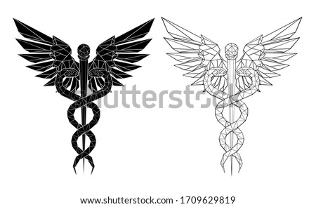 Two polygonal Caduceus Symbols Stock photo © blackmoon979