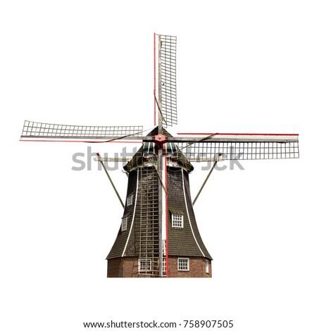 Hagyományos holland szélmalom kisváros Hollandia égbolt Stock fotó © Melnyk