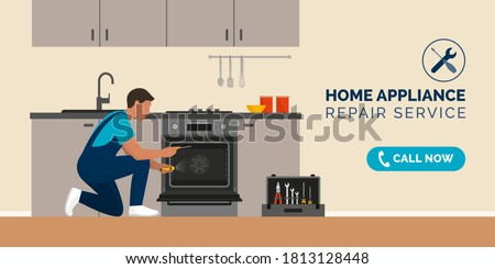 Piekarnik urządzenie naprawy utrzymanie człowiek domu Zdjęcia stock © AndreyPopov