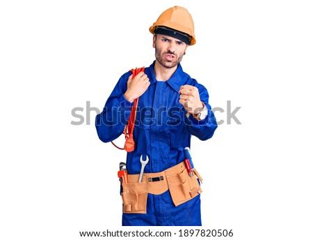fiatal · profi · kiabál · kábelek · kezek · közelkép - stock fotó © wavebreak_media