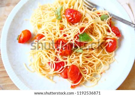 on fork with tomato vermicelli Stock photo © Peredniankina